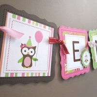 Pink Owl Banner that Says Happy Birthday for a Party Decor