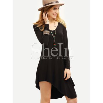 Black Scoop Neck Long Sleeve Plain Short Shift Dress