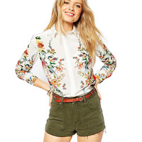 Floral Print Long Sleeves Collared Blouse