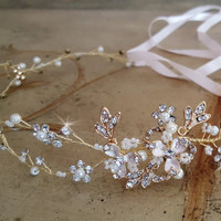Gold or Silver Wedding Vine,  Vine Wedding Hairpiece,  Pearl Crystal Headband,  Bridal Hairpiece, Bridal Headband, Wedding Halo, Tiara