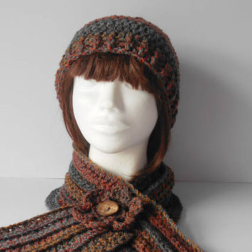 Hat and Scarf Set. Women's Scarf and Hat Set. Gift for her. Crochet Hat and Scarf Set. Womens  Beanie Hat. Crochet neck scarf. Multicoloured