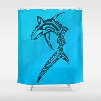 Sharked Shower Curtain by Texnotropio