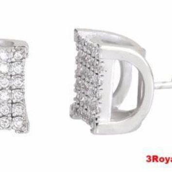 14k White gold layer Large size Hip Hop Bling Bling CZ 925 Sterling Silver Stud
