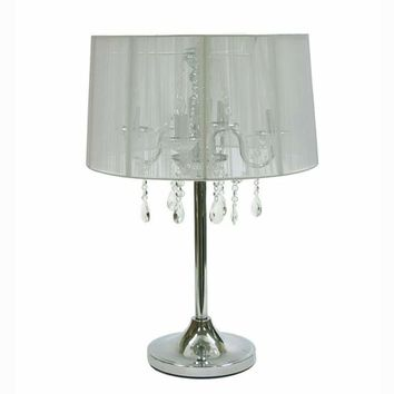 Creative Creations 1398/4T White Rovello Iron Four-Light Crystal Candelabra Table Lamp with White Shade