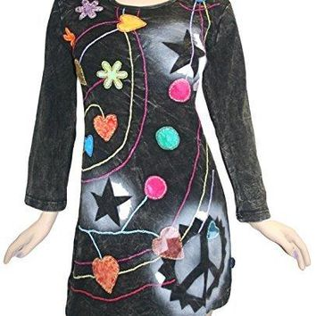 R 02 DR Agan Traders Cotton Tie Dye Retro Long Sleeve Dress