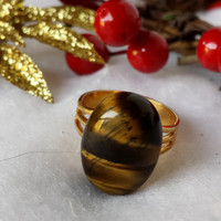 Tiger Eye Adjustable Ring - Genuine Tiger Eye Cabochon on a Gold Plated Brass Ring base, fall fashion ring, casual ring, beautiful fall tone