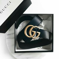 GUCCI Hot Sale Women Men Classic GG Letter Smooth Buckle Leather Belt Black