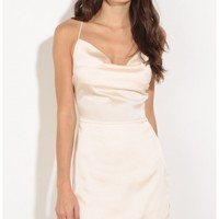 Party dresses > Cowl Neck Satin Dress In Peach