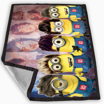 minion one direction on galaxy nebula Blanket for Kids Blanket, Fleece Blanket Cute and Awesome Blanket for your bedding, Blanket fleece *