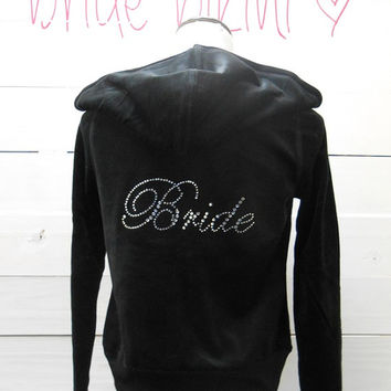 Bride Hoodie. Bride Jacket. Zip Up Hoodie. Large Bride Rhinestone. Bride Apparel. Bridal Party Hoodie. Bride Gift.