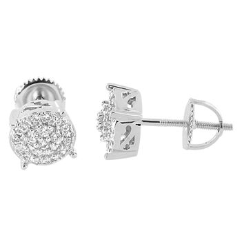 Round Shape Earrings Cluster Set Screw Back 14K White Gold Finish Simulated Diamonds Men Studs