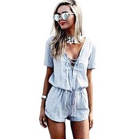 Women Plunging Neck Short Sleeve Criss-Cross Pure Color Romper