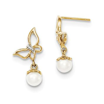 14k Yellow Gold Diamond and Fresh Water Cultured Pearl Butterfly Post Dangle Earrings