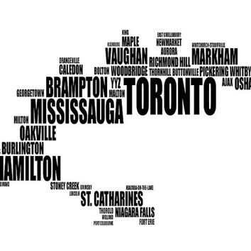 Toronto Typography Map, Text Art Print, GTA/Golden Horseshoe City Fonts - Choose colour and size