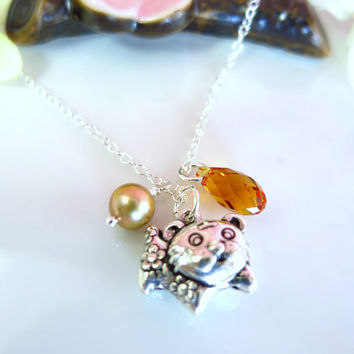 Puffy tiger zodiac charm cherry blossom Swarovski crystal necklace