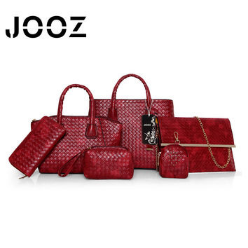 JOOZ Brand Luxury Knitting Women PU Leather Big Capacity Handbag 6 Pcs Composite Bags Set Shoulder Crossbody Bags Purse Clutch