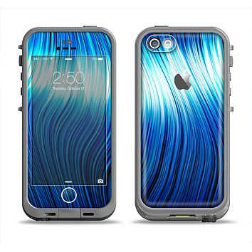 The Blue Vector Swirly HD Strands Apple iPhone 5c LifeProof Fre Case Skin Set