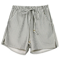 ROMWE | Vertical Stripe White Shorts, The Latest Street Fashion