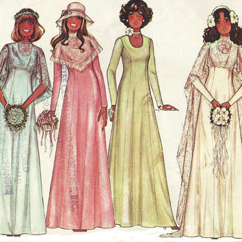 1970s McCalls Sewing Pattern 5239 Womens Bride and Bridesmaid Dress and Cape Size 14 Bust 36 Boho Wedding Dress