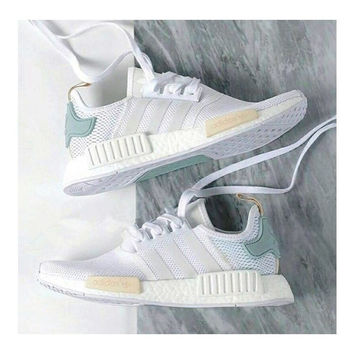 "2017 ""Adidas"" NMD Fashion Trending Women Leisure Running Sports Shoes Mesh Black(golden logo sole)"