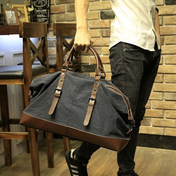 Xiao.p Canvas Leather Men Travel Bags Carry on Luggage Bags Men Duffel Bags Travel Tote Large Weekend Bag Overnight