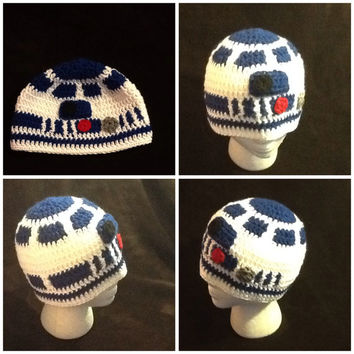 Star Wars R2D2 Crochet Beanie - made to order - all sizes