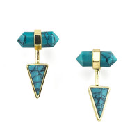 Gold and Turquoise Ear Jacket