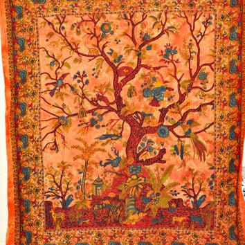 Indian Tree Of Life Hippie Hippy Indian Tapestry Wall Hanging Throw Cotton Bed cover Bohemian Bed Decor Bed Spread Ethnic Decorative Art