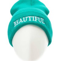 Beautiful Embroidered Fold-Over Beanie by Charlotte Russe - Teal