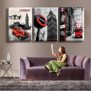 2017 Fashion Frameless paintings London City Scenery art modern Picture three picture combination Home Decorative 3 panel Canvas