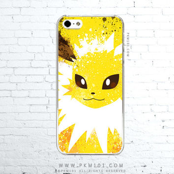 Pokemon X Y JOLTEON Inspired - Thunderous Yellow - Paint Splatter iPhone 4 4s 5 5s 5c iPod Touch 5 Galaxy S3 S4 S5 Case