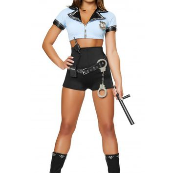 8pc Sexy Police Woman Black & Blue Costume