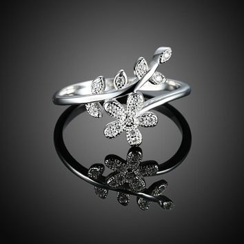 925 Sterling Silver Floral Ring
