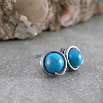 Turquoise Studs Pure Titanium Earrings Post Silver Wire Wrapped Jewelry Small Turquoise Earrings Turquoise Jewelry Hypoallergenic Metal