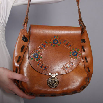 70s Boho PAINTED Leather PURSE / 1970s Tooled Floral Hippie BAG