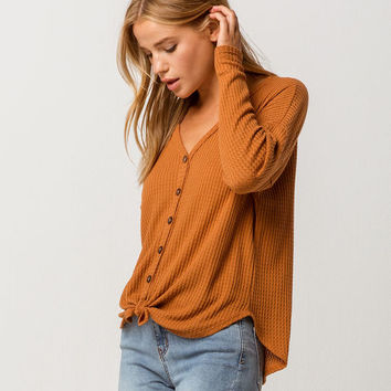 SKY AND SPARROW Tie Front Camel Womens Thermal