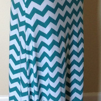 Teal green and white Chevron maxi skirt, summer skirt, chevron maxi skirt, skirt, maternity skirt, long skirt