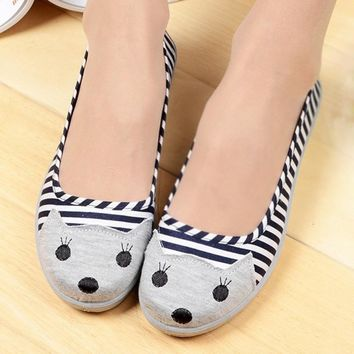 Kitty Cat Face Striped Print Animal Themed Wedge Ballet Flats for Women in Navy Blue