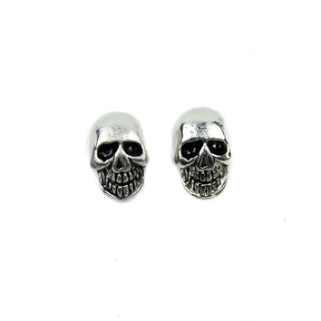 Silver Skull Stud Gothic Earrings Cosplay