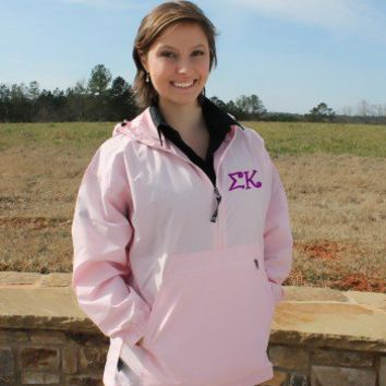 Wind Breaker Raincoat for Sigma Kappa in Curlz monogram