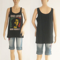 Free Shipping Bob Marley one love  shirt  tank top  shirt  womens Size Medium to Large  U.S Size 12