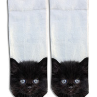 Black Kittens Barely Show Socks - Black Kittens Barely Show Socks