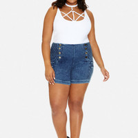 Plus Size Cici Quilted Denim Shorts