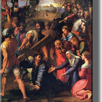 Christ on the Road to Calvary by Raphael, Picture on Stretched Canvas, Wall Art Décor, Ready to Hang!
