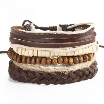 Hemp Rope Natural Wood Bead Bracelet Men Jewelry  Adjustable Bracelets Male Accessories