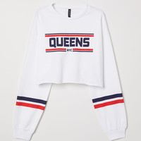 Short Printed Sweatshirt - White/Queens - Ladies | H&M US