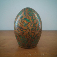 Vintage Kashmir India Lacquered Paper Mache Egg Evans Table Lighter Mid Century