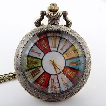 Colorful Roman Numeral Women Quartz Pocket Watch Necklace