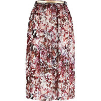 River Island Womens Pink print soft woven belted midi skirt