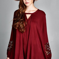 A-Line Tunic Top - Maroon